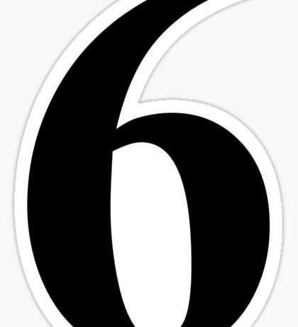 Number 6 in Black Times New Roman Serif Font Typeface Sticker
