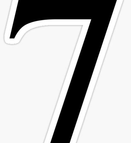 Number 7 in Black Times New Roman Serif Font Typeface Sticker Sticker