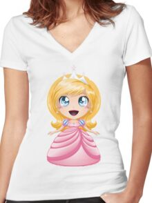 Blond Princess In Pink Dress Women's Fitted V-Neck T-Shirt