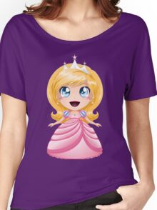 Blond Princess In Pink Dress Women's Relaxed Fit T-Shirt
