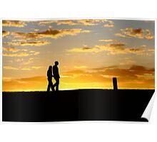 Romantic walk in the sunrise Poster