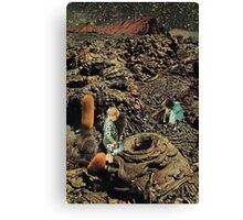 Looking for the lost toys, Vintage Collage Canvas Print