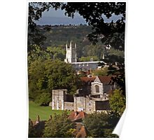 Winchester College, Wolvesey Palace & Castle, seen from St Giles Hill, southern England Poster