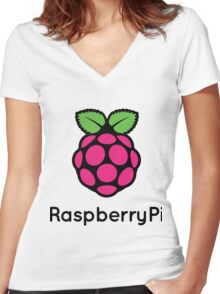 Raspberry pi Women's Fitted V-Neck T-Shirt