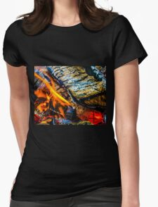 Fire Wood Womens Fitted T-Shirt