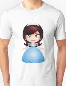 Princess With Black Hair In Blue Dress T-Shirt