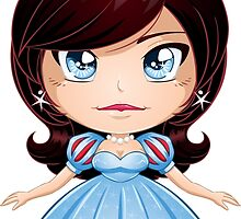 Princess With Black Hair In Blue Dress by Liron Peer