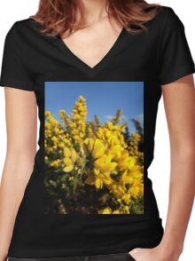 Gorse flowers (Ulex europaeus) Women's Fitted V-Neck T-Shirt