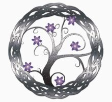 Silver Celt Tree with Purple Blossoming Flowers Kids Tee