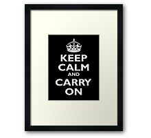 KEEP CALM, Keep Calm & Carry On, Be British! Blighty, UK, United Kingdom, white on black Framed Print