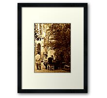 Chatting in Calcata-Italy Framed Print