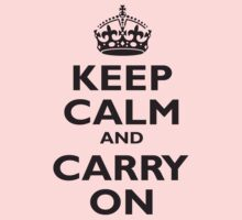 Keep Calm & Carry On, Be British! Blighty, UK, United Kingdom, Black on white Kids Clothes