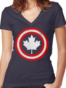 Captain Canada (White Leaf) Women's Fitted V-Neck T-Shirt