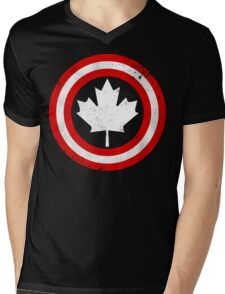 Captain Canada (White Leaf) Mens V-Neck T-Shirt