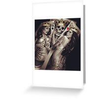 King and queens spades and hearts playing cards cartoon design Greeting Card