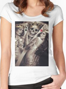 King and queens spades and hearts playing cards cartoon design Women's Fitted Scoop T-Shirt