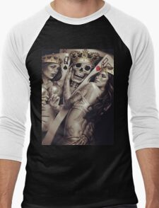 King and queens spades and hearts playing cards cartoon design Men's Baseball ¾ T-Shirt