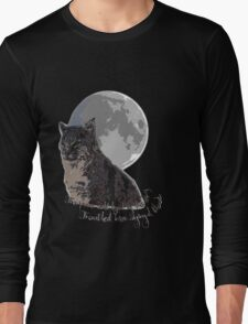 The (big) cat and the moon Long Sleeve T-Shirt