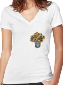 Sunflowers in Bucket Women's Fitted V-Neck T-Shirt