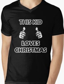 THIS KID LOVES CHRISTMAS Mens V-Neck T-Shirt