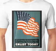 Patriotic Recruiting War Poster ~ ENLIST TODAY ~ Army Navy Air Force Coast Guard ~ 0597  Unisex T-Shirt