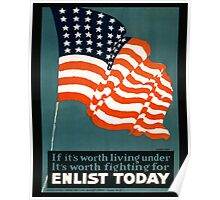 Patriotic Recruiting War Poster ~ ENLIST TODAY ~ Army Navy Air Force Coast Guard ~ 0597  Poster