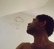 self-portrait/with wire sculpture -(280811)- digital photo by paulramnora