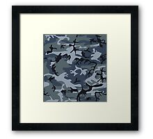 Navy Blue Grey Camo Camouflage Framed Print