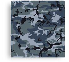 Navy Blue Grey Camo Camouflage Canvas Print