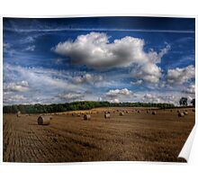 Hay Bales near Winchester, Uk Poster
