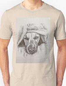 Dog peeking out  Unisex T-Shirt