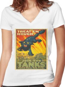Join the Tanks Corps ~ War Recruiting Poster ~ Black Cat Army Tank ~ 0592 Women's Fitted V-Neck T-Shirt