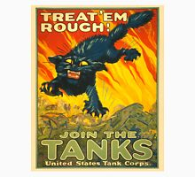 Join the Tanks Corps ~ War Recruiting Poster ~ Black Cat Army Tank ~ 0592 Unisex T-Shirt