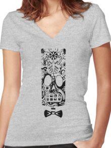 Calavera Black Women's Fitted V-Neck T-Shirt