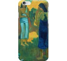 Paul Gauguin - Three Tahitian Women against a Yellow Background iPhone Case/Skin