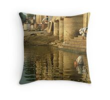 Bathing in the Ganges Throw Pillow