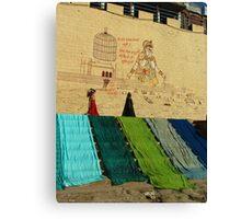 Drying Saris on Varanasi Ghats Canvas Print