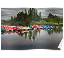Colorful paddle boat's at the lake Poster