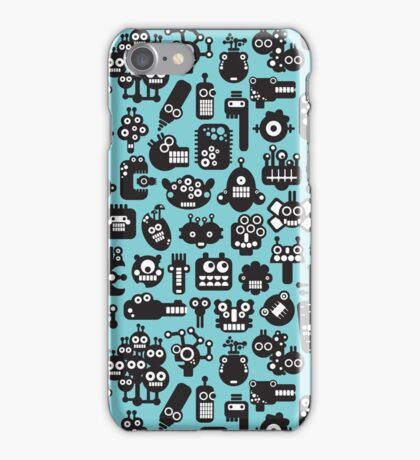 Robots faces blue iPhone Case/Skin