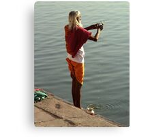 Making Puja in the Ganges Canvas Print