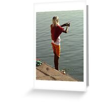 Making Puja in the Ganges Greeting Card