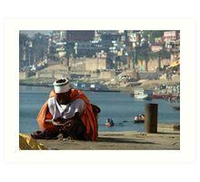 Saddhu Sits by the Ganges Art Print