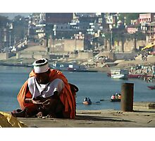 Saddhu Sits by the Ganges Photographic Print