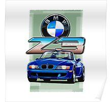 BMW Z3 Blue Poster