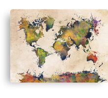 World Map green splash Canvas Print