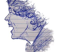 Pen sketch of Harry Styles by drawpassionn