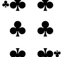 Six of Clubs Playing Card Sticker by ukedward