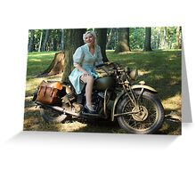 WW2 Indian motorcycle pinup Greeting Card
