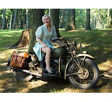 WW2 Indian motorcycle pinup Photographic Print