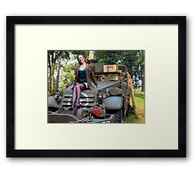 A redhead pinup on a WWII White Halftrack Framed Print